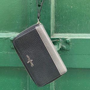 Black & Grey Leather Cole Haan Wristlet